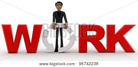 3D Man Holding O Of Work Text Concept