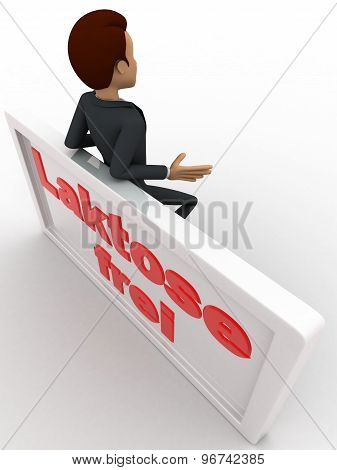 3D Man Leaning On Lakstose Frel Board Concept
