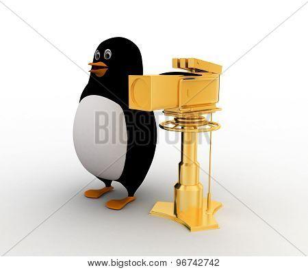 3D Penuin With Golden Camera Award Concept