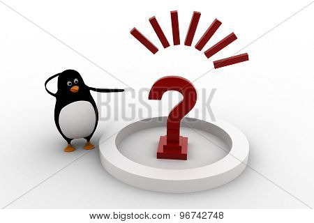 3D Penguin With Big Red Question Mark Concept
