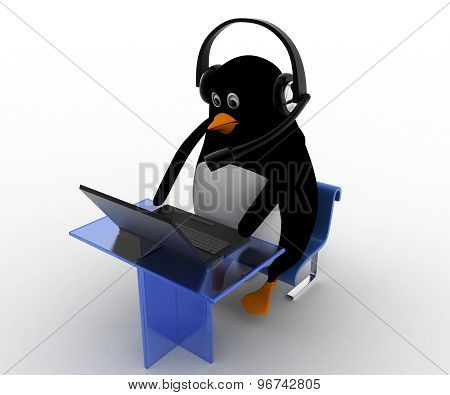 3D Penguin Working On Laptop With Headphones In Call Center Concept