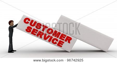 3D Man With Customer Service Written On Big Cube Concept