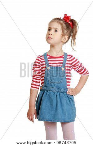 little girl in denim sundress