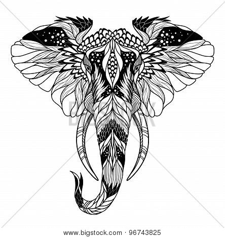 Psychedelic elephant head tattoo