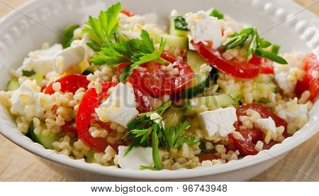 Gluten Free Vegetarian Salad  With A Feta Cheese.