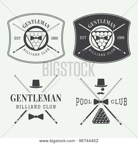 Set Of Vintage Billiard Labels, Emblems And Logos
