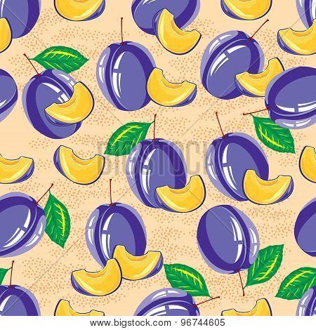 seamless pattern of ripe plum