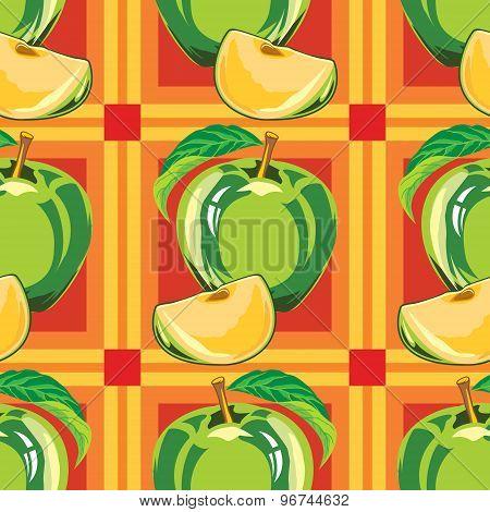 seamless pattern of green apple