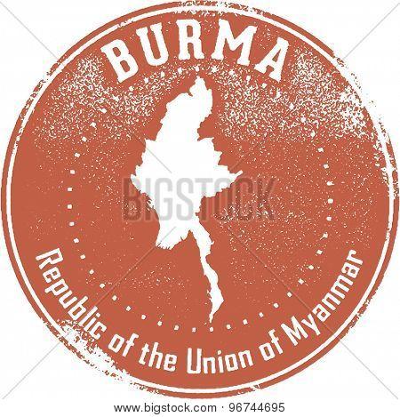 Burma Myanmar Travel Stamp