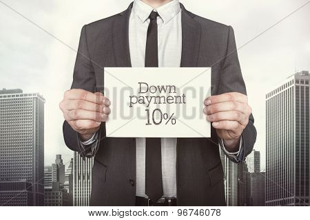 Down payment 10 percent on paper