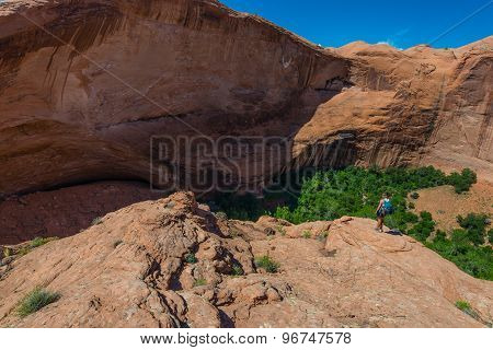 Woman Hiker At Jacob Hamblin Arch Coyote Gulch