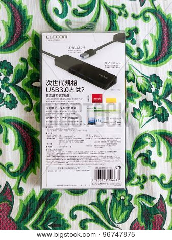 GOMEL, BELARUS - JULY 7, 2015: Elecom usb 3.0 hub U3H-A401B.  Elecom  is a Japanese electronics company, headquartered in Osaka, Japan.