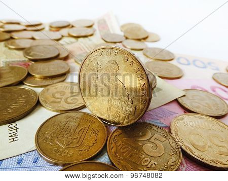 Ukrainian money (hryvnia) on a white background