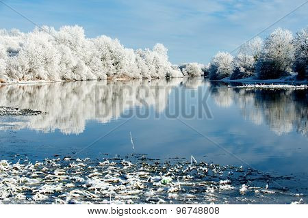 Riverbank Winter Landscape