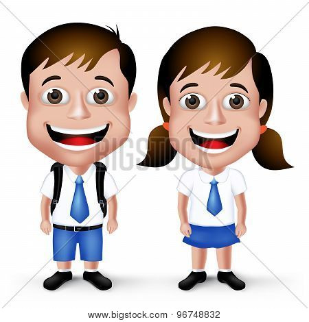 3D Realistic Cute School Boy and Girl Student Characters