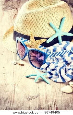Summer Holiday Setting With Straw Hat And Sunglasses