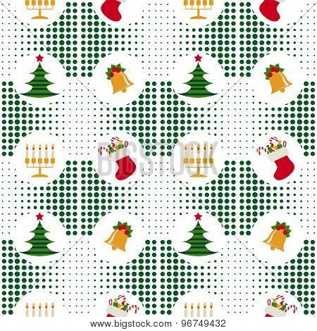 Seamless Christmas Pattern With Christmas Trees, Bells, Candles And Gifts On Background Pixel