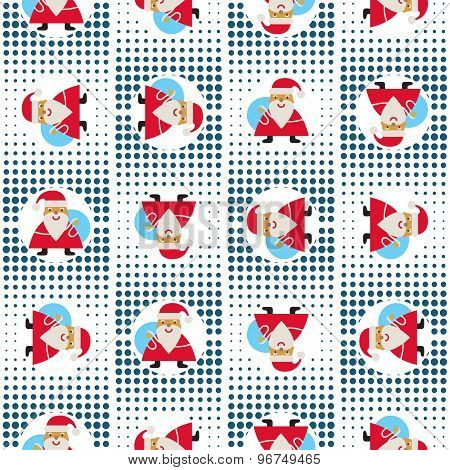 Seamless New Year's Abstract Pattern With Santa Claus On A Background Pixel