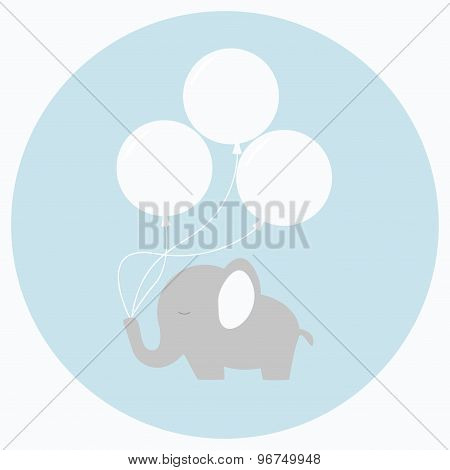 Little baby elephant with big balloons.
