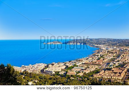 Javea Xabia aerial skyline with port bay and village in Alicante Spain