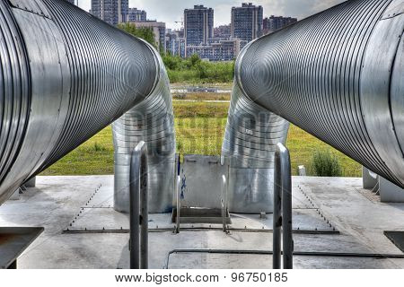 Outdoors Metal Hot Water Pipeline, Steel Pipe