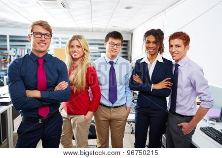 Business team young people standing multi ethnic teamwork office