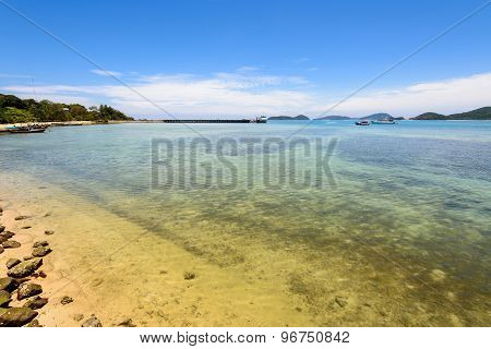 Sea Near Bridge Pier At Laem Panwa Cape In Phuket, Thailand