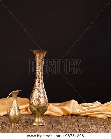 Oriental metal jar.