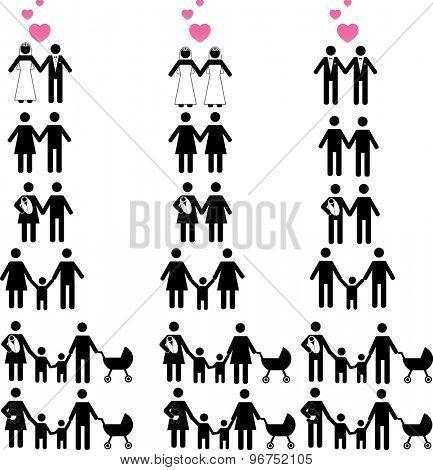 Gay & Lesbian family Icon set