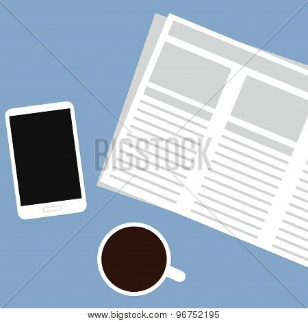 Modern morning flat vector illustration. Newspaper, mobile phone and coffee.