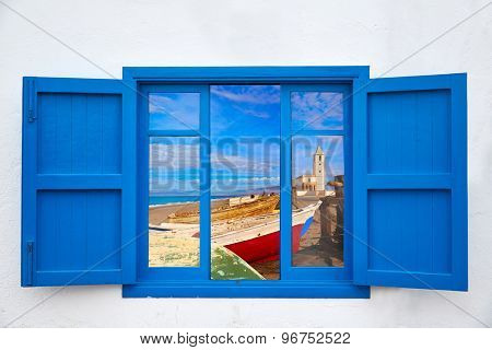 Almeria view from window of Cabo de Gata Salinas church photo mount