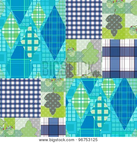 Patchwork Seamless Pattern Checkered Plaid Background
