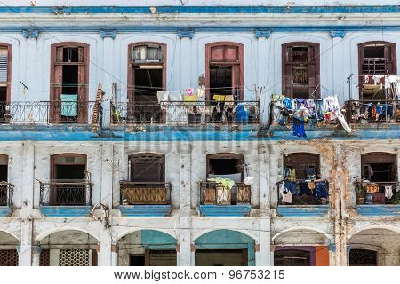 Balconies with laundry in the center of the old city of Havana, Cuba