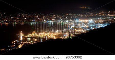 The harbor of Novorossiysk by Night