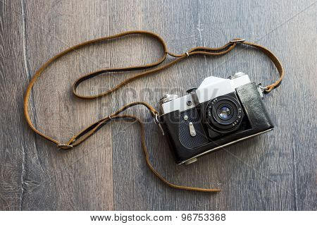 top view of retro camera