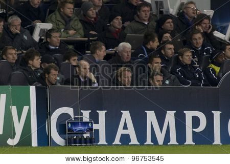 LONDON ENGLAND, November 11 2010: The Werder Bremen bench during the UEFA Champions League match between Tottenham Hotspur FC and Werder Bremen, played at White Hart Lane, Tottenham, London