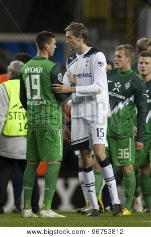 LONDON ENGLAND, November 11 2010: Werder Bremen's forward Sandro Wagner and Tottenham's Peter Crouch after the UEFA Champions League group stage match between Tottenham Hotspur and Werder Bremen FC,