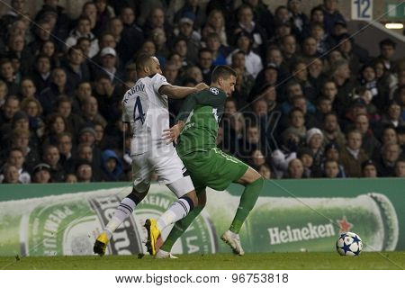 LONDON ENGLAND, November 11 2010: Tottenham's defender Younes Kaboul and Werder Bremen's Sandro Wagner in action during the UEFA Champions League match between Tottenham Hotspur FC and Werder Bremen