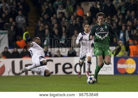 LONDON ENGLAND, November 11 2010: Werder Bremen's defender Dominik Schmidt in action during the UEFA Champions League match between Tottenham Hotspur FC and Werder Bremen
