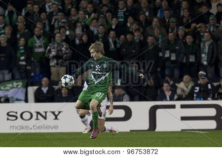 LONDON ENGLAND, November 11 2010: Werder Bremen's midfielder Marko Marin in action during the UEFA Champions League match between Tottenham Hotspur FC and Werder Bremen, played at White Hart Lane
