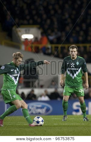 LONDON ENGLAND, November 11 2010: Werder Bremen's midfielder Philipp Bargfrede action during the UEFA Champions League match between Tottenham Hotspur FC and Werder Bremen, played at White Hart Lane