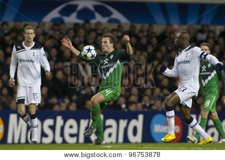 LONDON ENGLAND, November 11 2010: Werder Bremen's forward Claudio Pizarro in action during the UEFA Champions League match between Tottenham Hotspur FC and Werder Bremen