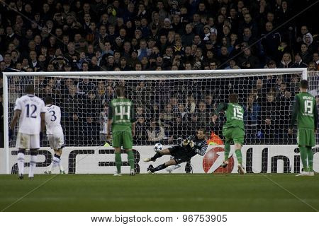 LONDON ENGLAND, November 11 2010: Werder Bremen's goalkeeper Tim Wiese saves a penalty during the UEFA Champions League match between Tottenham Hotspur FC and Werder Bremen, played at White Hart Lane