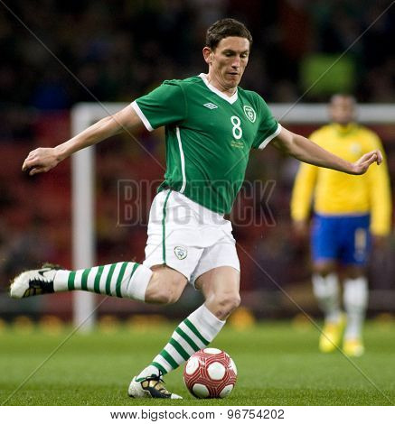 LONDON, ENGLAND. March 02 2010: Ireland's Keith Andrews during the international football friendly between Brazil and the Republic of Ireland played at the Emirates Stadium.