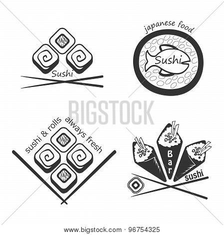 Set of sushi logos,badges, labels and design elements.