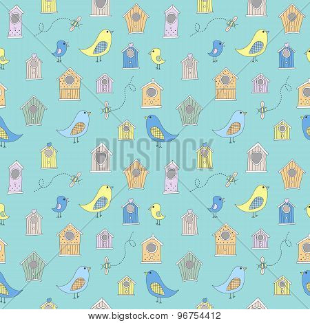 Cute bird houses and birds in a repeating, seamless pattern