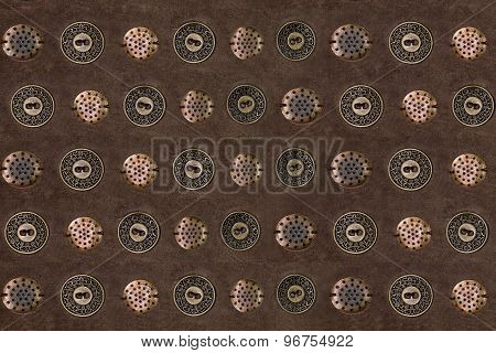 background with metal buttons