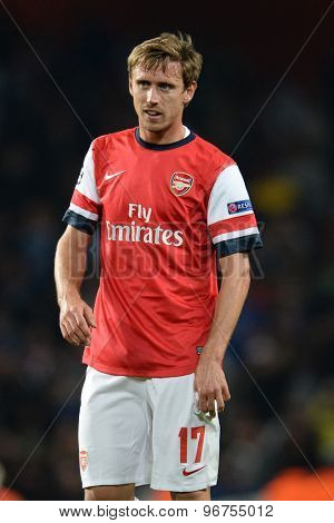 LONDON, ENGLAND - Oct 01 2013: Arsenal's defender Nacho Monreal from Spain during the UEFA Champions League match between Arsenal and Napoli.