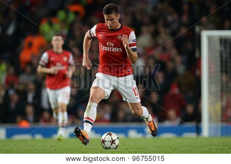 LONDON, ENGLAND - Oct 01 2013: Arsenal's forward Olivier Giroud from France during the UEFA Champions League match between Arsenal and Napoli.