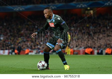 LONDON, ENGLAND - Oct 01 2013: Napoli's defender Camilo Zuniga from Columbia during the UEFA Champions League match between Arsenal and Napoli.